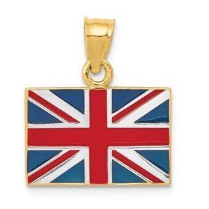 Jewelry - 14K Yellow Gold United Kingdom Flag Necklace Charm